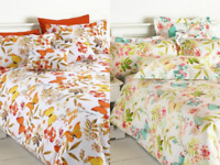 GREEN DUVET COVER SET LUXURY MILLIE BUTTERFLY POLY COTTON SINGLE DOUBLE KING