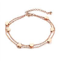 Edelstahl Damen Armband HERZ Armkette Roségold Steel Bracelet leicht Doppelkette