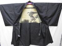 Men's Indigo Silk Japanese HONBA-OHSHIMA-TSUMUGI HAORI w/Hawk J244