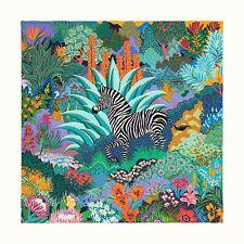 Auth Hermes Silk Scarf 90cm Mountain Zebra Turquoise Orange NEW