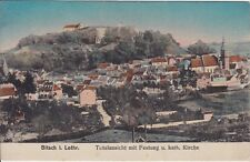 uralte AK, Bitsch in Lothringen, Totalansicht mit Festung und kath. Kirche