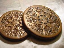 """RARE Two Antique Copper Molds Baking Pans Hearts Tulips 10"""" X 1"""" &  8"""" X 1"""""""