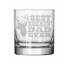 11oz Rocks Whiskey Highball Glass Funny Best Buckin Dad Ever Father