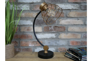 Desk Table Lamp Industrial Light Bulb Lantern Black Metal Battery Operated