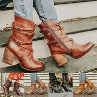 Women Retro Rome Boots Ladies Plus Size High Heels Zipper Casual Leather Boots