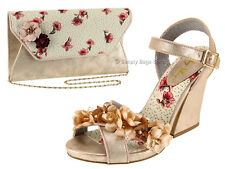 Ruby Shoo Ellen Thick Heel Sandals UK 3-9 Champagne Silk Flower Strap UK 7 / EU 40