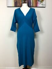 MONSOON Teal Cable Knitted Jumper Dress Plunge Neckline Batwing Sleeve 10