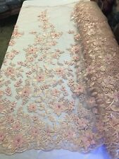 3D Flower-Floral BLUSH PINK Embroidered With Pearls Lace Fabric Wedding By Yard