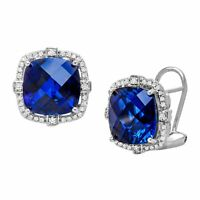 12 ct Created Sapphire and 1/5 ct Diamond Stud Earrings in Sterling Silver