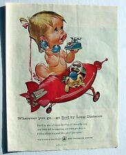 Bell Telephone System ad FIRST by long distance red plane 1960's
