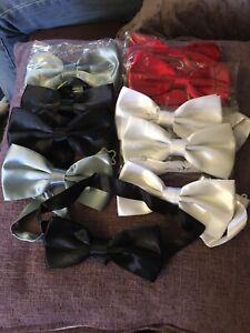 Job Lot 10 X  Faux Silk  Bow Ties.... New
