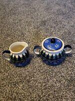Wiza Poland Pottery Handmade Blue Green Pine Trees Snowflakes Sugar Creamer