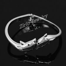 New Fashion Womens Silver Stainless Steel Double Dolphin Bangle Bracelet Cuff