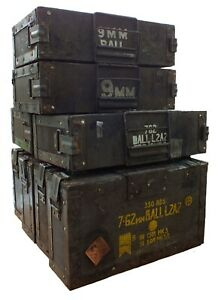 Collectable British Army Wooden .303 / 7.62 & 22 Rim Fire Ammunition Ammo Boxes