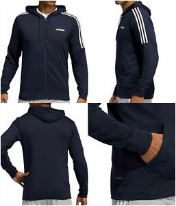 adidas Men's Medium 3 Stripe Full Zip French Terry Hoodie Pockets Navy Blue New