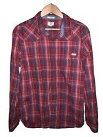 Lucky Brand Mens Black Plaid Western Pearl Snap Long Sleeve Button Shirt Large