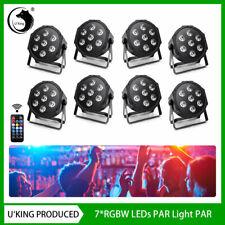 U`king PAR Stage Light 4-In-1 RGBW 7 LED DMX Party Wedding Disco DJ VHF Remote