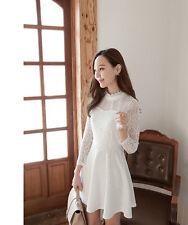 New Korean Kawaii Women Long Sleeve Slim Lace Sweet Skater Mini Princess Dress