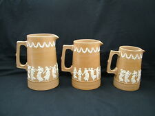 Copeland Late Spode graduated jugs classical scenes dancing maidens pale brown