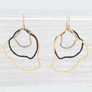 New Nina Nguyen Abstract Hoop Earrings Sterling Silver Statement Hook Dangles