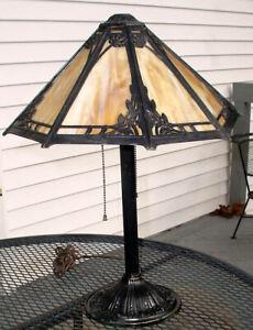 ANTIQUE B & H BRADLEY & HUBBARD MISSION ERA CARMEL SLAG GLASS TABLE LAMP N/R
