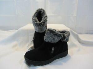 Khombu Women's Jessica Ankle Boot - Black Leather Faux Fur - Size 8