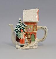 9959068 Ens/Bohne/Stahl Porzellan Tee-Kanne Winter Weihnacht Haus 22x10x20cm
