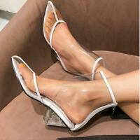 Womens Sandals Shoes Boots Clear Platform High Top Triangle Heels Transparent