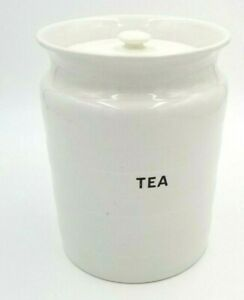 """Antique White Ironstone Ware Large Tea Caddy Cannister Large Kitchen Storage 9""""T"""