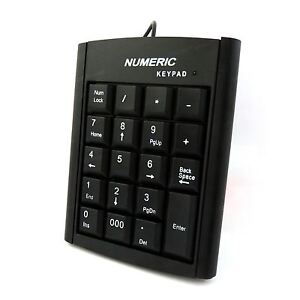 Numeric Keypad Number 19 Keys Pad Keyboard Accounting USB Cable For Laptop PC