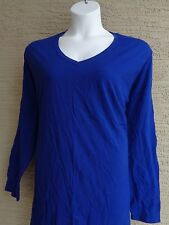 New Just  My Size Cotton  L/S V Neck  Tee Top  3X  Cobalt Blue