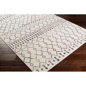Ivory Cream/Black Carpet Area Rug Rectangle 6'7'' x 9'
