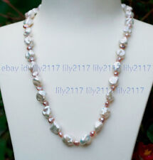 AAA High Luster Natural White Pink Freshwater Baroque Pearl Necklaces 16-28''
