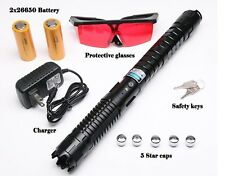 High Power Blue Laser 450nm Pointer Pen Adjustable Visible Beam Charger Battery