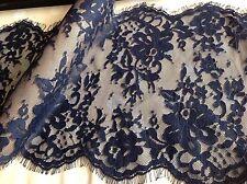 "NEW Navy Eyelash Floral Lace Fabric 10""26cm Fringe Trimming Craft Ooh La La Lucy"