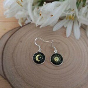 Sun & moon glass bohemian earrings. Sterling silver 925 earring hooks & Gift box
