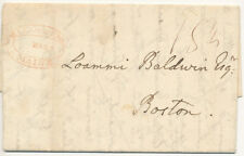 1825 Hallowell Maine Faint Red Oval Cancel on Stampless Cover Long Letter