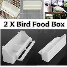 2Pcs White Bird Cage Plastic Feed Cup Seed Water Dispenser Pigeon Food Box