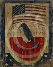 Primitive Crow American Flag Watermelon Americana Patriotic Summer Print 8x10