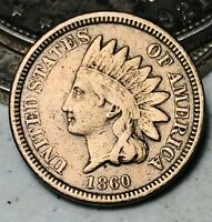 1860 Indian Head Cent Penny 1C CN High Grade Choice Good US Copper Coin CC6221