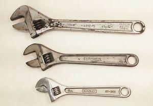 "Vtg adjustable wrench tool lot cornwell stanley fleet 12"" 10"" 8"""