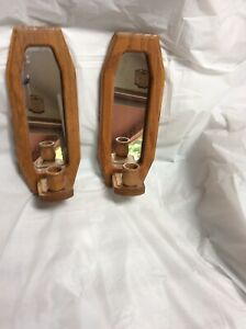Pair Of Wood Wall Sconces/with Mirrors
