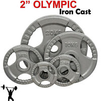 "Iron Cast 2"" Olympic Disc Weight Plates EZ Bar Barbell Bodypower Gym Fitness Tri"