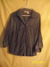 Kim Rogers Womens Shirt Gray 3/4 Sleeves Elastic Side Inserts Button Down #33