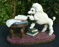 """Large Fancy French Figure Poodle Scholar Library White Dog Unique 9.5""""x 7"""" Nice"""