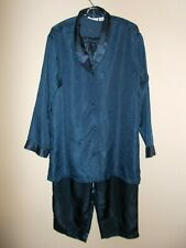 Jaclyn Smith Womens Size XL Dark Blue Two Piece Pajama Set Inseam 29""