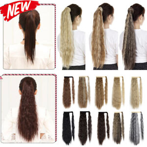 Lady Thick Wrap Around Clip in On Hair Extensions Small Wavy Ponytail Hairpiece