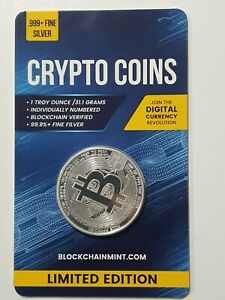 Bitcoin 1oz .999 Silver Bullion Coin with Card ERROR 2020 Crypto Series Scarce