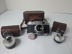 Pax-Ruby vintage film Camera 35mm colour Luna w/ case telephoto and wide angle