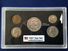 1951 United States Five Coin Silver Year Set Classic Coins in Display Case